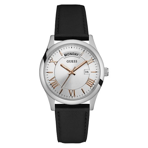 Guess Mens Black Leather Strap Watch - Product number 6195075