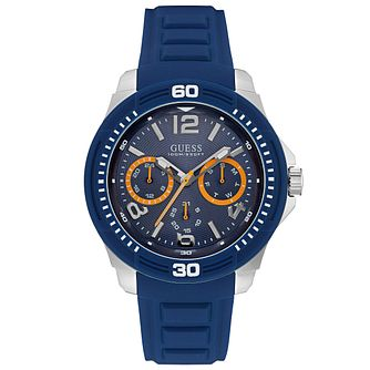 Guess Chronograph Blue Dial Blue Silicone Strap Watch - Product number 6195091