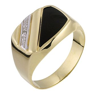 9ct Yellow Gold Diamond & Onyx Signet Ring - Product number 6203000