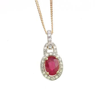 18ct Gold Ruby & 0.20ct Diamond Pendant - Product number 6209246