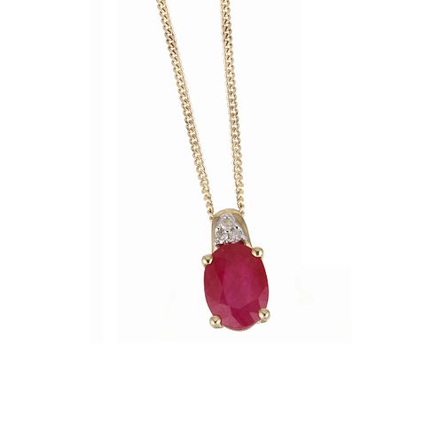 9ct yellow gold ruby necklace - Product number 6209351