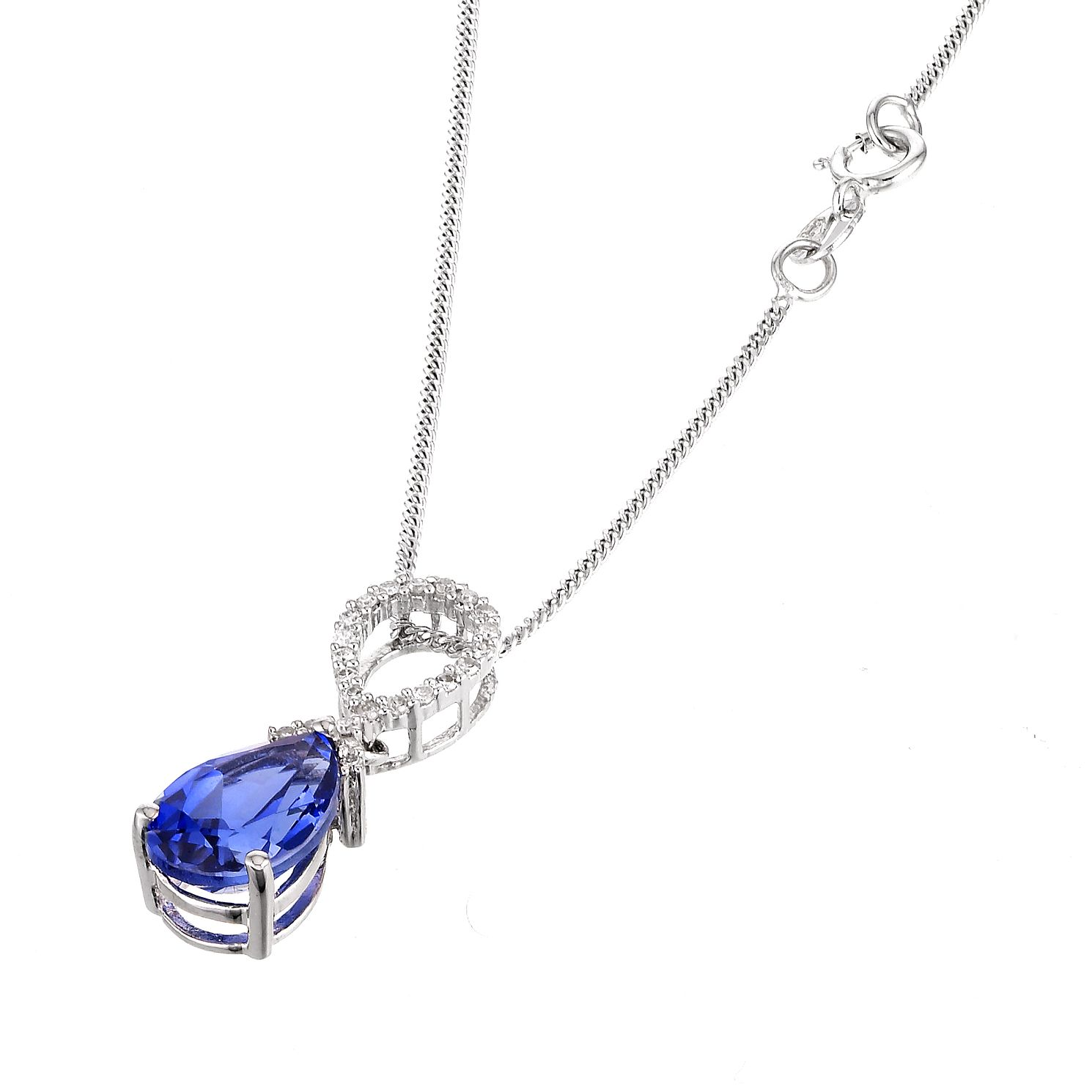 9ct White Gold Created Sapphire Pendant - Product number 6209599