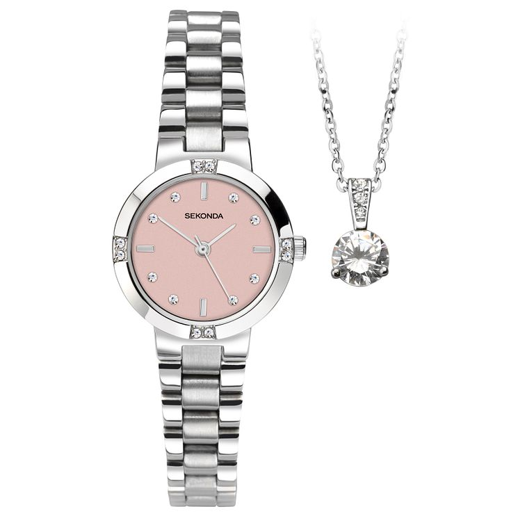 Sekonda La s Stainless Steel Bracelet Watch & Pendant Set