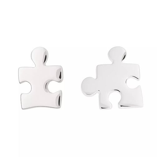 Lily Charmed Silver Jigsaw Mismatched Stud Earrings - Product number 6214258