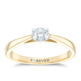 The Forever Diamond 18ct Yellow Gold 0.20ct Solitaire Ring - Product number 6214932