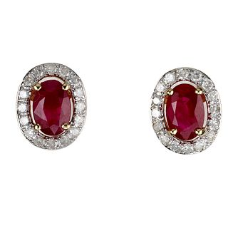18ct Gold Ruby & 0.20ct Diamond Earrings - Product number 6215165