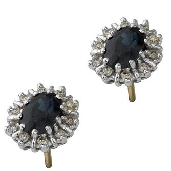 18ct Gold Sapphire & Diamond Cluster Earrings - Product number 6215203