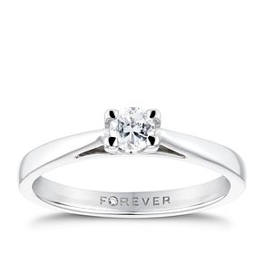 18ct White Gold 1/5 Carat Forever Diamond Solitaire Ring - Product number 6215874