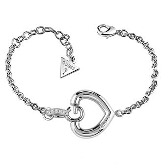 Guess Rhodium Plated G Heart Bracelet - Product number 6220223