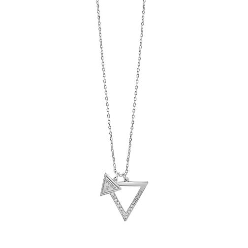 Guess Rhodium Plated Swarovski Crystal Triangle Necklace - Product number 6220525