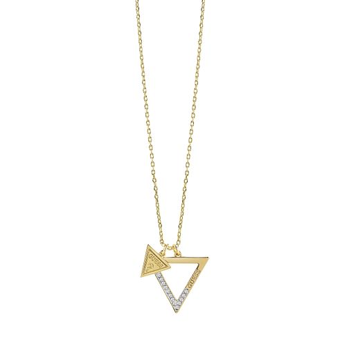 Guess Gold Plated Swarovski Crystal Open Triangle Necklace - Product number 6220533