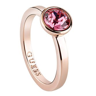 Guess Rose Gold Plated Rose Swarovski Crystal Ring - Product number 6220665