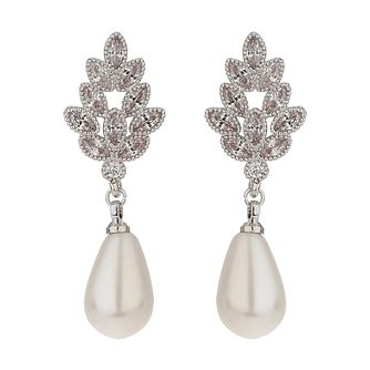 Mikey Silver Tone Fancy Leaf & Imitation Pearl Drop Earrings - Product number 6220797