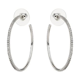Mikey Silver Tone Large Cubic Zirconia Set Hoop Earrings - Product number 6220819
