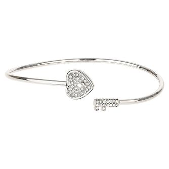 Mikey Silver Tone Crystal Set Heart & Key Bangle - Product number 6221106