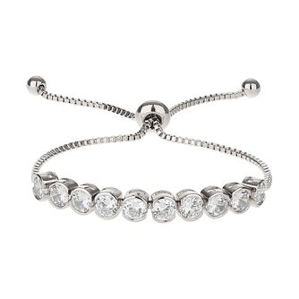 Mikey Silver Tone Cubic Zirconia Adjustable Bracelet - Product number 6221130