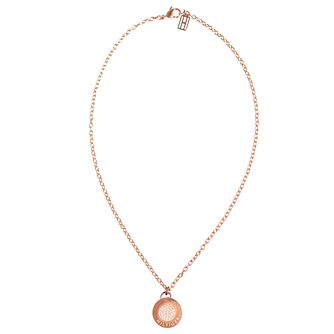 Tommy Hilfiger Rose Gold Plated Coin Pave Necklace - Product number 6222986