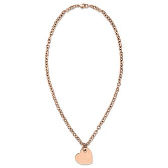 Tommy Hilfiger Rose Gold Plated Off Centre Heart Necklace - Product number 6223001