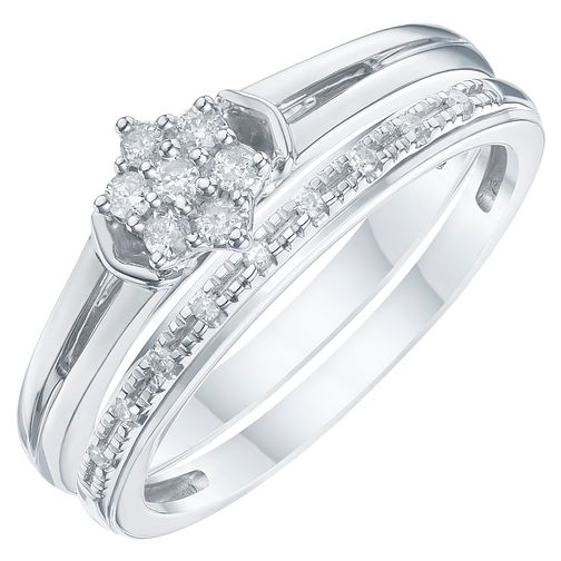 Argentium Silver & Diamond Perfect Fit Bridal Set - Product number 6227058