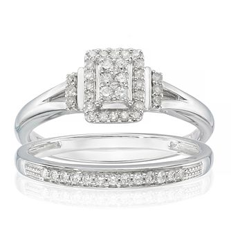 Perfect Fit 9ct White Gold 1/5ct Diamond Cushion Bridal Set - Product number 6227309