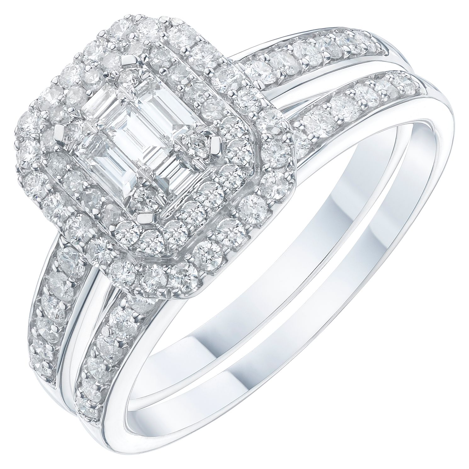 Perfect Fit 9ct White Gold 2/3ct Diamond Twist Bridal Set - Product number 6228933