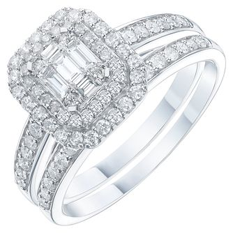 Perfect Fit 9ct White Gold 0.66ct Total Diamond Bridal Set - Product number 6228933