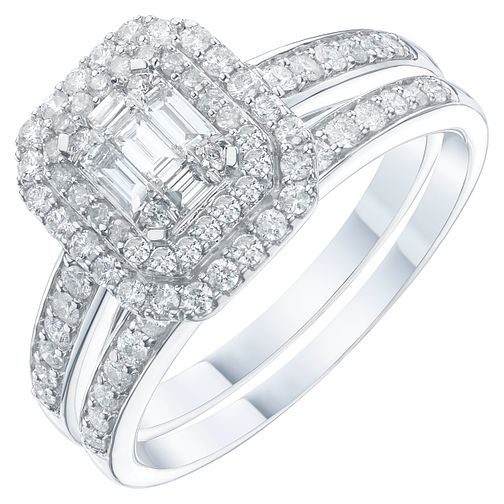 9ct White Gold 2/3ct Diamond Perfect Fit Bridal Set - Product number 6228933