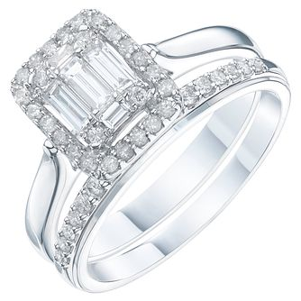 Perfect Fit 9ct White Gold 1/2ct Diamond Baguette Bridal Set - Product number 6229085