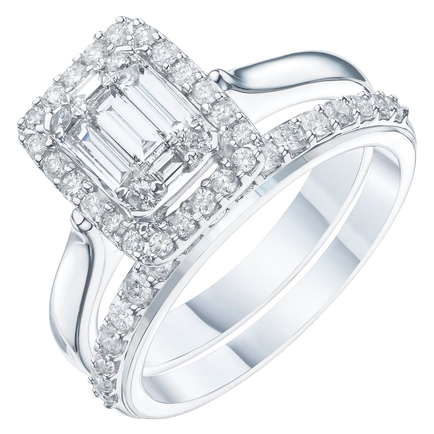 Perfect Fit 9ct White Gold 3/4ct Diamond Baguette Bridal Set - Product number 6229212