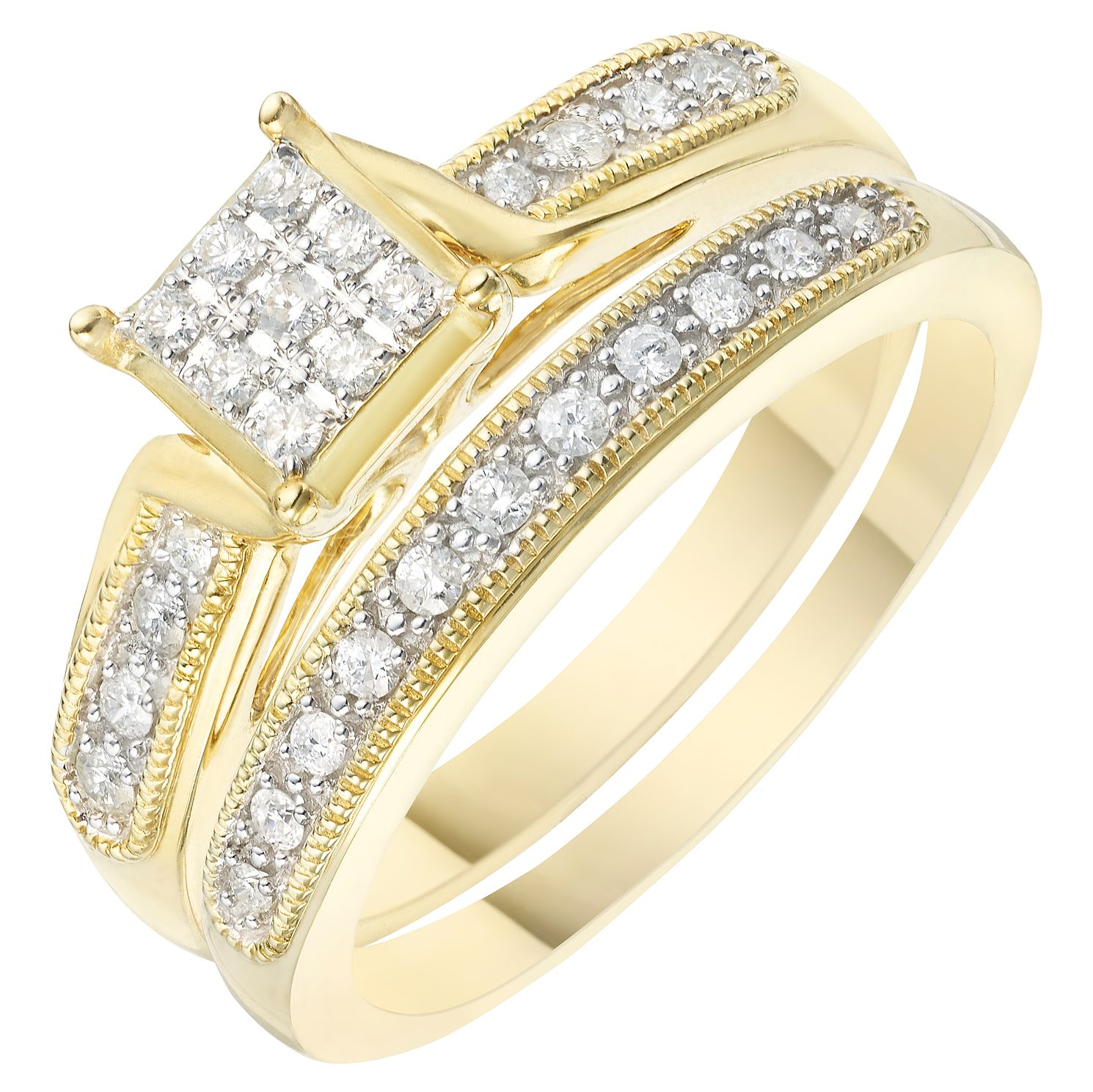 Perfect Fit 9ct Yellow Gold 1/5ct Diamond Square Bridal Set - Product number 6229751