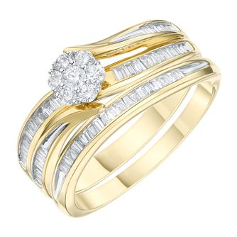 18ct Yellow Gold 2/5ct Diamond Perfect Fit Bridal Set - Product number 6230199