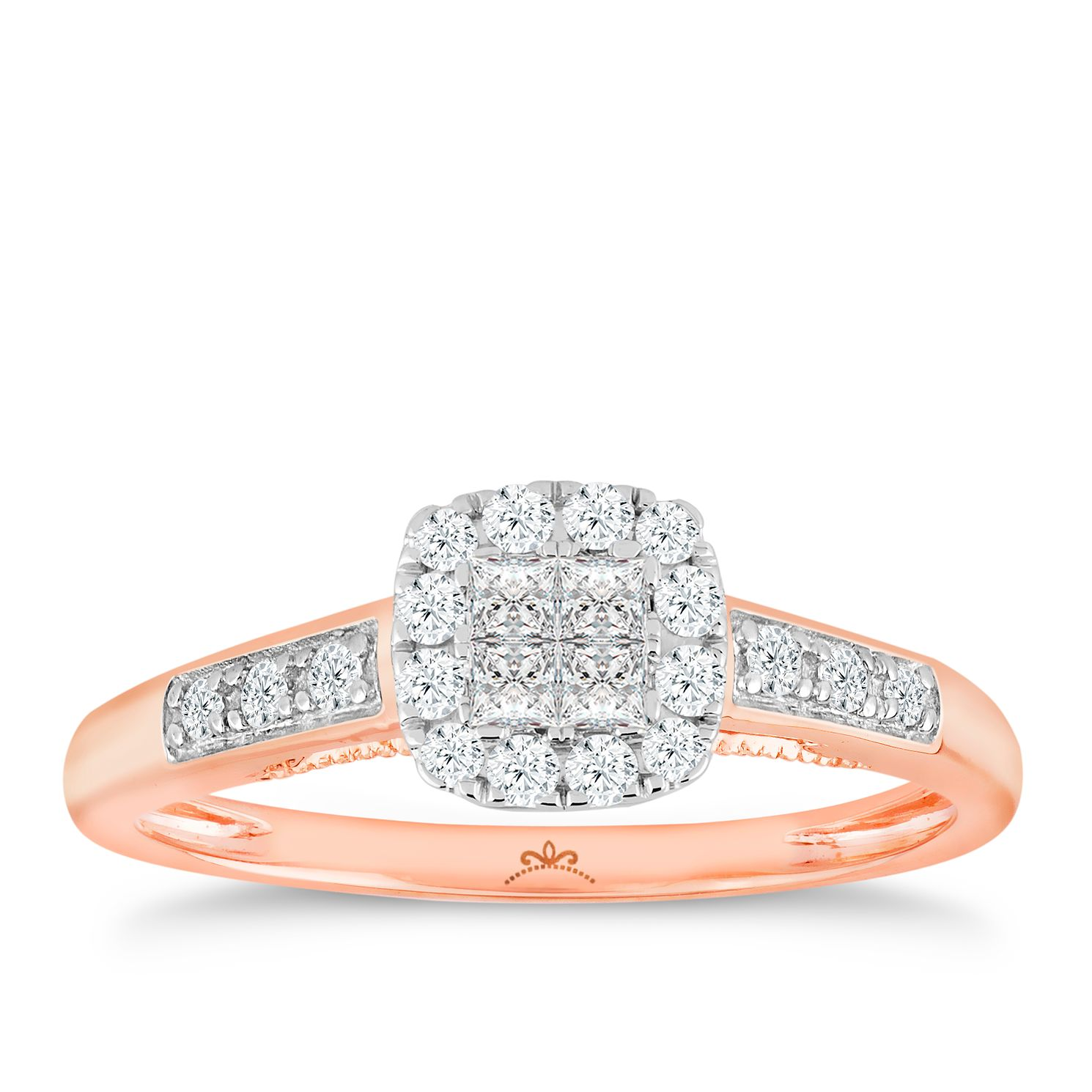 Princessa 9ct Rose Gold 1/3ct Diamond Ring - Product number 6230679