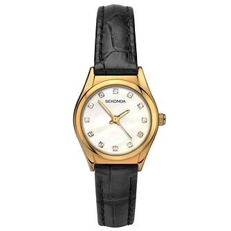 Sekonda Ladies' Black Leather Strap Watch - Product number 6231047