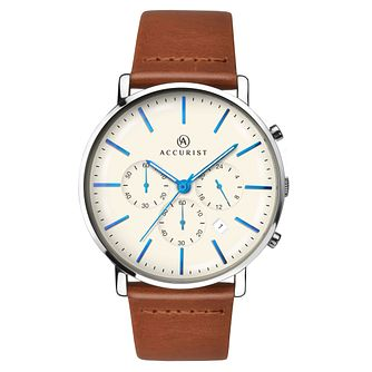 Accurist Men's Brown Leather Strap Watch - Product number 6231284