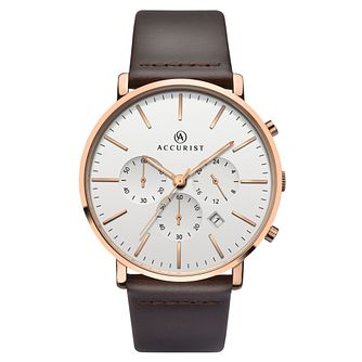 Accurist Men's Brown Leather Strap Watch - Product number 6231314
