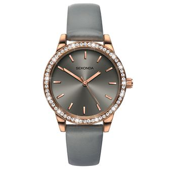 Sekonda Editions Ladies' Grey Leather Strap Watch - Product number 6231454
