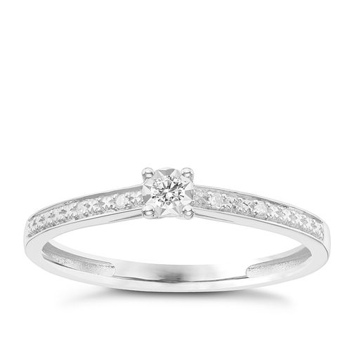 9ct White Gold Diamond Solitaire Ring - Product number 6231896