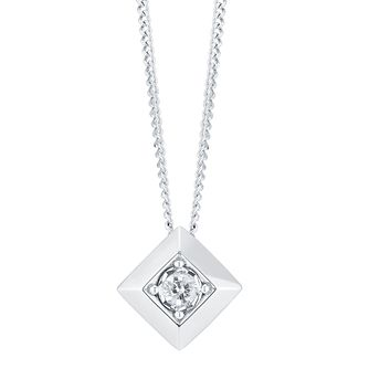 9ct White Gold Square Diamond Pendant - Product number 6232205