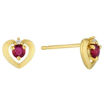 9ct Yellow Gold Ruby & Diamond Heart Earring - Product number 6232914