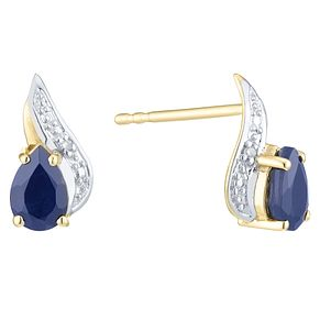 9ct Yellow Gold Sapphire &  Diamond Earring - Product number 6232949