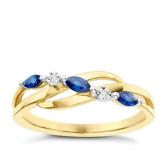 9ct Yellow Gold Sapphire & Diamond Eternity Ring - Product number 6233201