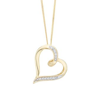 9ct Yellow Gold Diamond Heart Pendant - Product number 6237061