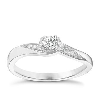 9ct White Gold 0.17ct Total Diamond Solitaire Ring - Product number 6237762
