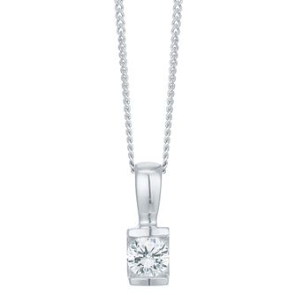 9ct White Gold 1/5 Carat Diamond Bar Set Pendant - Product number 6242146