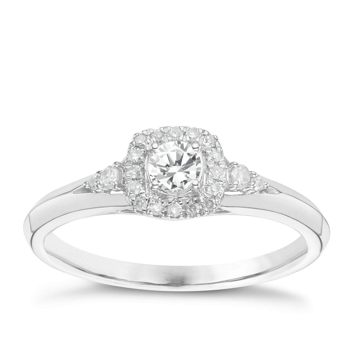 9ct White Gold 0.25ct Total Diamond Solitaire Ring - Product number 6242375