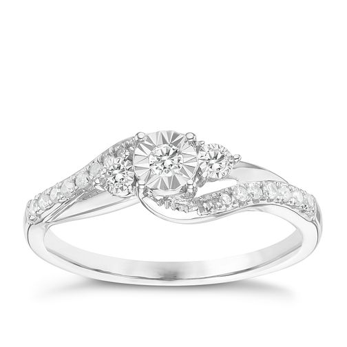 9ct White Gold 0.15 Carat Diamond Solitaire Ring - Product number 6242650