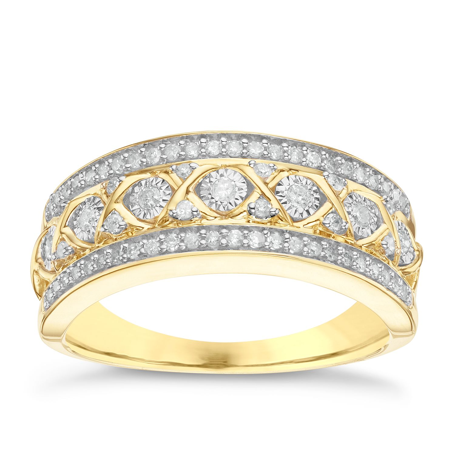 9ct Yellow Gold 1/4ct Diamond Eternity Ring - Product number 6243401
