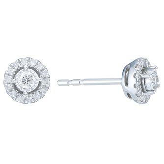 9ct White Gold 0.15 Carat Diamond Halo Stud Earrings - Product number 6245641