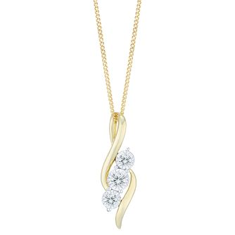 9ct Yellow Gold 0.10ct Diamond 3 Stone Pendant - Product number 6245692