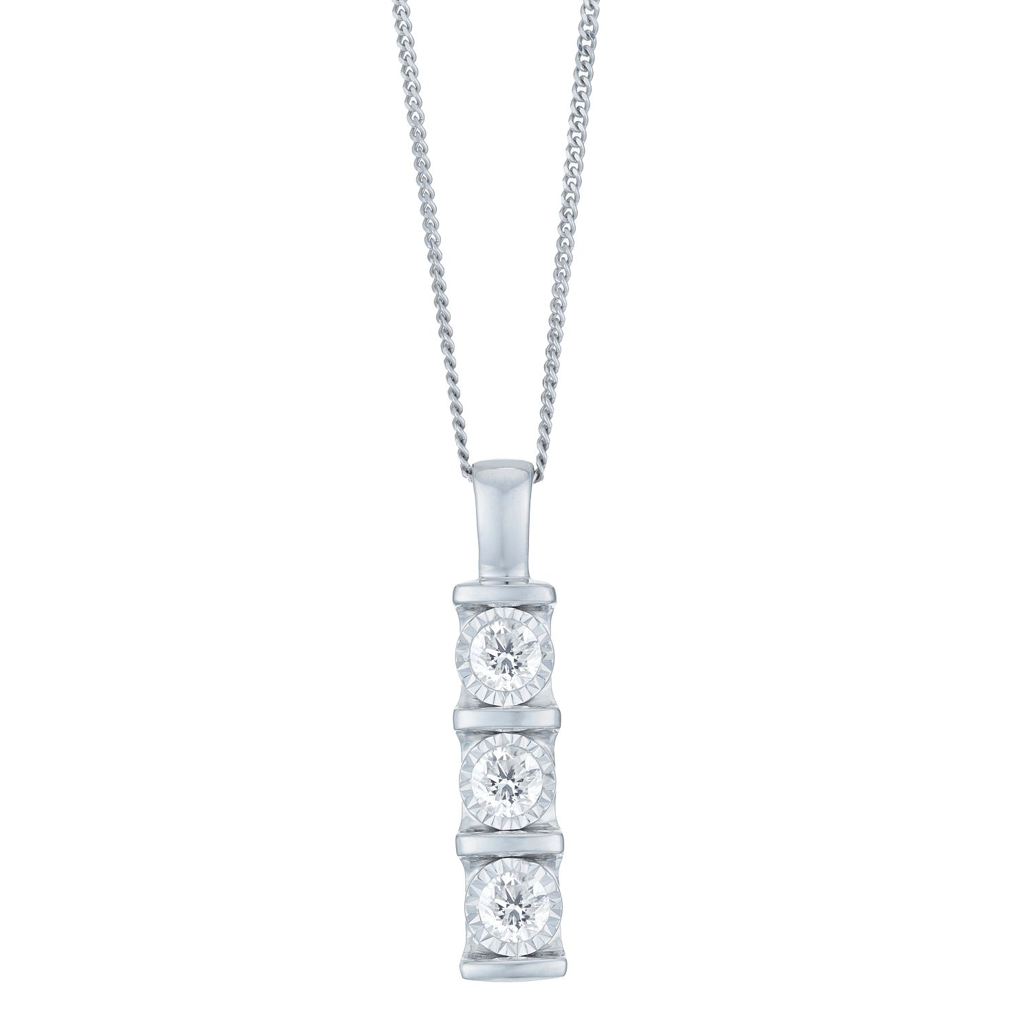 9ct White Gold 0.25ct Diamond 3 Stone Bar Set Pendant - Product number 6245706